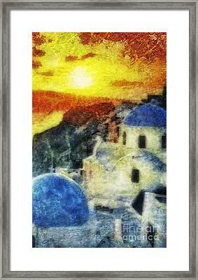 Santorini Sunset Framed Print by Mo T