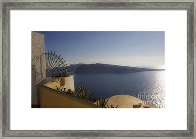 Santorini View 24x14 Framed Print by Leslie Leda