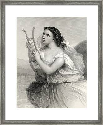 Sappho,illustration From World Noted Women By Mary Cowden Clarke, 1858 Engraving Framed Print by Pierre Gustave Eugene Staal