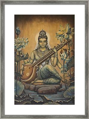 Sarasvati Shakti Framed Print by Vrindavan Das