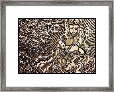 Saraswati-hindu Goddess Of Wisdom Framed Print by Chandrima Dhar