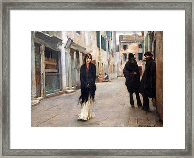 Sargent's Street In Venice Framed Print by Cora Wandel