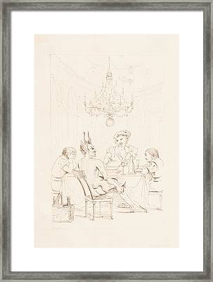 Satan And Three Men At A Table Framed Print by Auguste Hervieu
