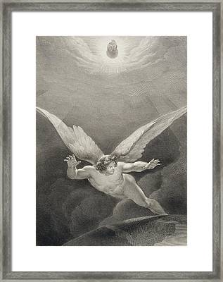 Satan Leaps Over The Walls Of Heaven Framed Print by Richard Edmond Flatters