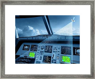 Satellite Air Traffic Control System Framed Print by European Space Agency