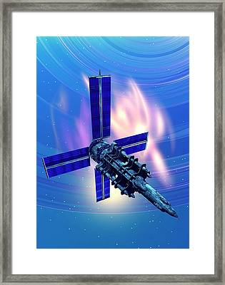 Satellite In Space Framed Print by Victor Habbick Visions