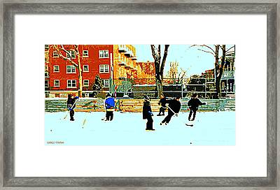Saturday Afternoon Hockey Practice At The Neighborhood Rink Montreal Winter City Scene Framed Print by Carole Spandau