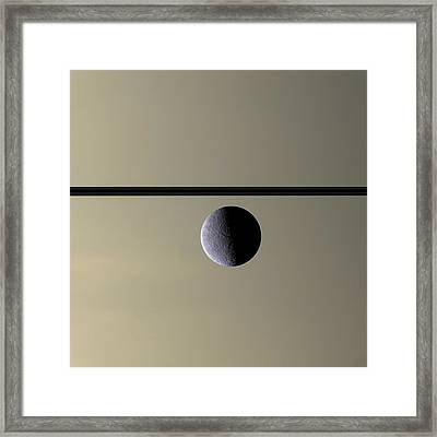 Saturn Rhea Contemporary Abstract Framed Print by Adam Romanowicz