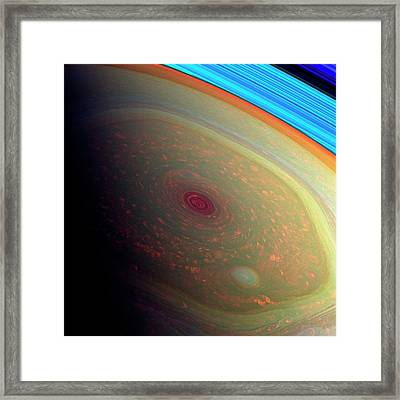 Saturn's North Polar Storm Framed Print by Nasa