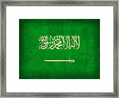Saudi Arabia Flag Vintage Distressed Finish Framed Print by Design Turnpike