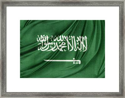 Saudi Arabian Flag Framed Print by Les Cunliffe