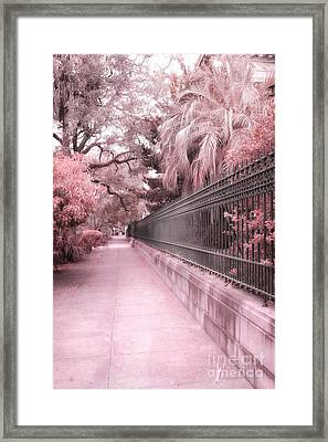 Savannah Dreamy Pink Rod Iron Gate Fence Architecture Street With Palm Trees  Framed Print by Kathy Fornal