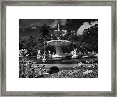 Savannah - Forsyth Park Fountain 001 Bw Framed Print by Lance Vaughn