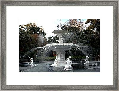 Savannah Georgia Forsythe Fountain - Forsythe Fountain Square Dreamy Landscape  Framed Print by Kathy Fornal