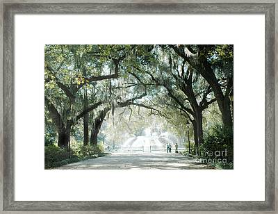 Savannah Georgia Forsyth Fountain Oak Trees With Moss Framed Print by Kathy Fornal