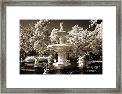 Savannah Georgia Fountain - Forsyth Fountain - Infrared Sepia Landscape Framed Print by Kathy Fornal