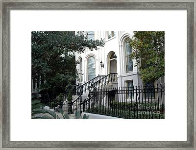Savannah Georgia Historical District Victorian Homes Architecture - Savannah Mansions Framed Print by Kathy Fornal