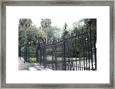 Savannah Georgia Mansion With Black Rod Iron Gates Framed Print by Kathy Fornal