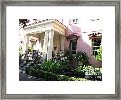 Savannah Georgia - The Olde Pink House Historical Restaurant Framed Print by Kathy Fornal
