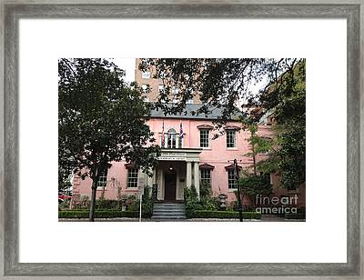 Savannah Georgia The Olde Pink House Restaurant - Historical Southern Pink Building Architecture Framed Print by Kathy Fornal