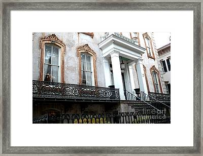 Savannah Georgia Victorian Homes Architecture - Savannah Historial District Framed Print by Kathy Fornal