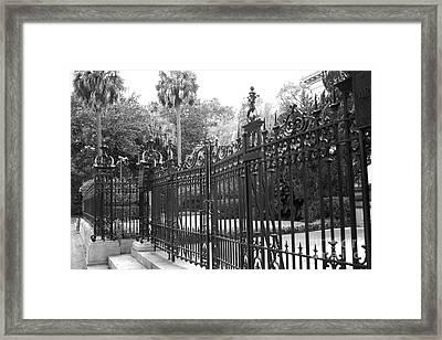 Savannah Mansions Black And White Rod Iron Gate - Savannah Black Gate Architecture Framed Print by Kathy Fornal