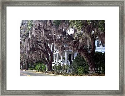 Savannah Victorian Mansion Hanging Moss Trees Framed Print by Kathy Fornal