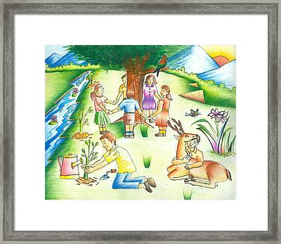 Save Earth Framed Print by Tanmay Singh