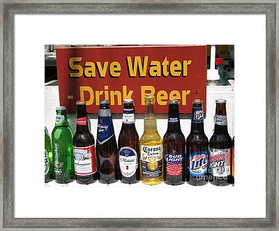 Save Water Drink Beer Framed Print by Stacey May