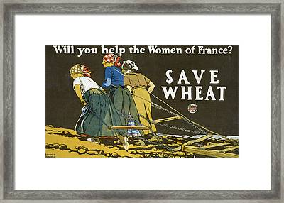 Save Wheat Framed Print by Edward Penfield