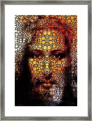 Savior - Stone Rock'd Jesus Art By Sharon Cummings Framed Print by Sharon Cummings