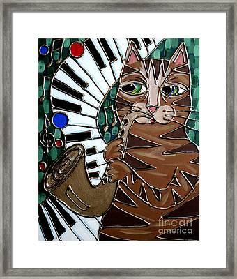 Sax Cat Framed Print by Cynthia Snyder