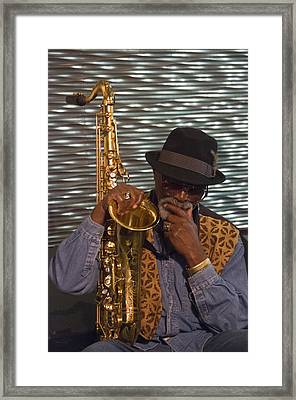 Sax Man Framed Print by Scott Lenhart