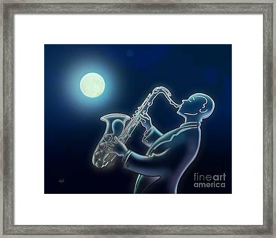 Sax-o-moon Framed Print by Bedros Awak