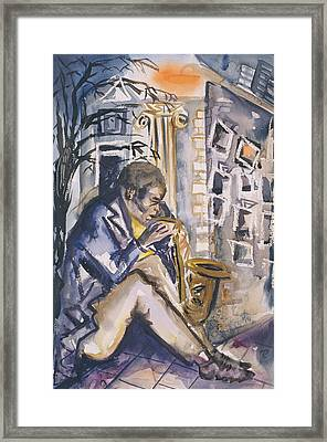 Sax Player, 1998 Wc On Paper Framed Print by Hilary Rosen