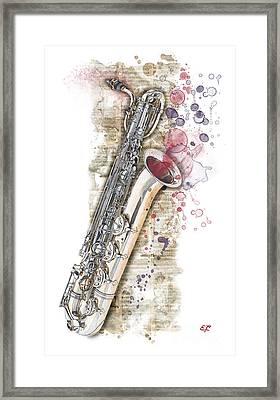 Saxophone 01 - Elena Yakubovich Framed Print by Elena Yakubovich
