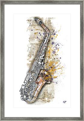 Saxophone 02 - Elena Yakubovich Framed Print by Elena Yakubovich