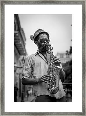 Saxophone Musician New Orleans Framed Print by David Morefield