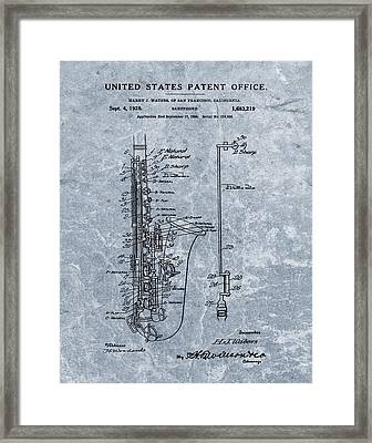 Saxophone Patent Cool Blue Framed Print by Dan Sproul