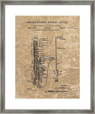 Saxophone Patent Design Illustration Framed Print by Dan Sproul