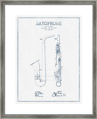 Saxophone Patent Drawing From 1899 - Blue Ink Framed Print by Aged Pixel