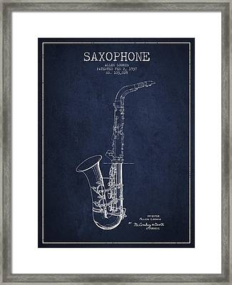 Saxophone Patent Drawing From 1937 - Blue Framed Print by Aged Pixel