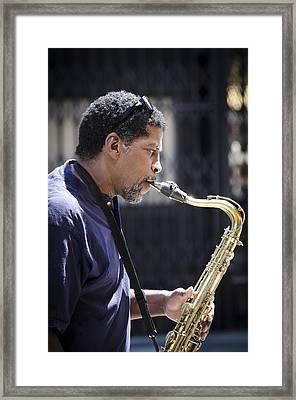Saxophone Player Framed Print by Carolyn Marshall