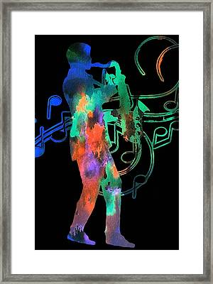 Saxophone Player Framed Print by Dan Sproul