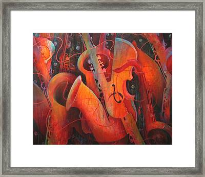 Saxy Cellos Framed Print by Susanne Clark
