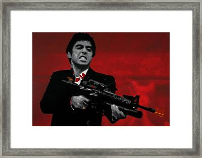 Say Hello To My Little Friend  Framed Print by Luis Ludzska