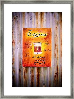 Sazerac On Rust Framed Print by Marian Hebert