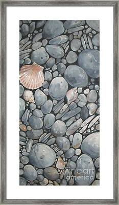 Scallop Shell And Black Stones Framed Print by Mary Hubley