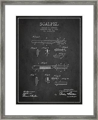 Scalpel Patent From 1916 - Dark Framed Print by Aged Pixel