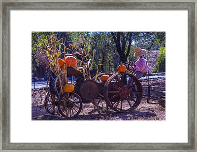 Scarecrow Sitting On Tractor Framed Print by Garry Gay